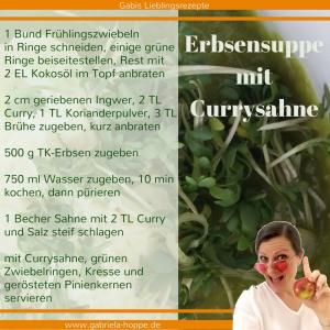 Erbsensuppe mit Currysahne mit Dr. Gabriela Hoppe | Erfolg durch Ernährung | Ernährungsspezialistin & Heilpraktikerin
