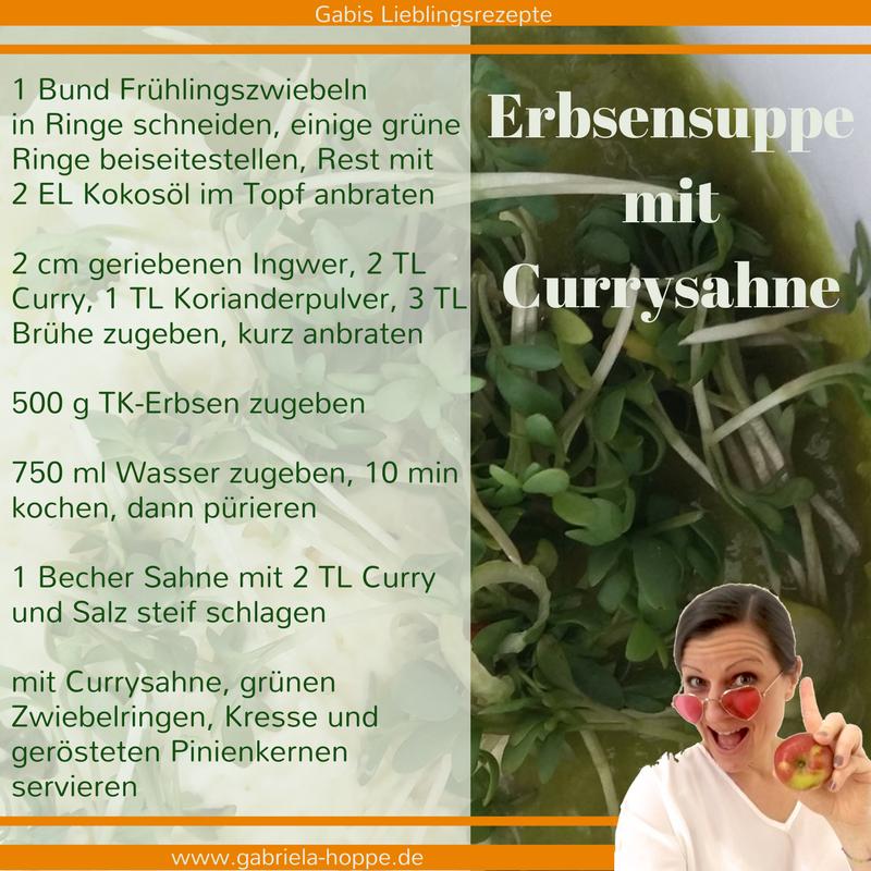 Erbsensuppe mit Currysahne